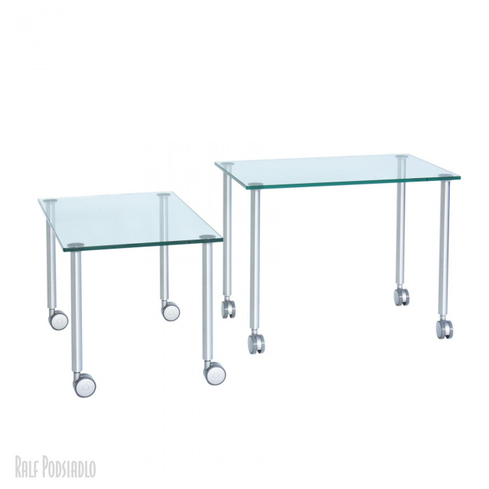 Beistelltisch-Satz OBJEKT-30 auf Rollen - Glasplatten klar - nach Maß - Glastisch 2-Set