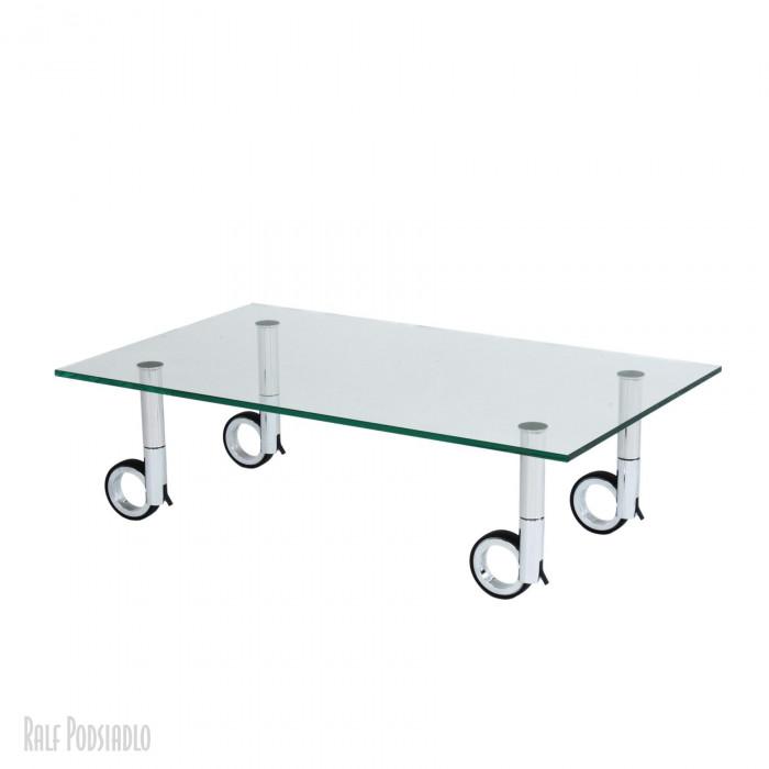 OPEN-LOOK-ONE Glastisch H30cm 100x60cm auf Rollen