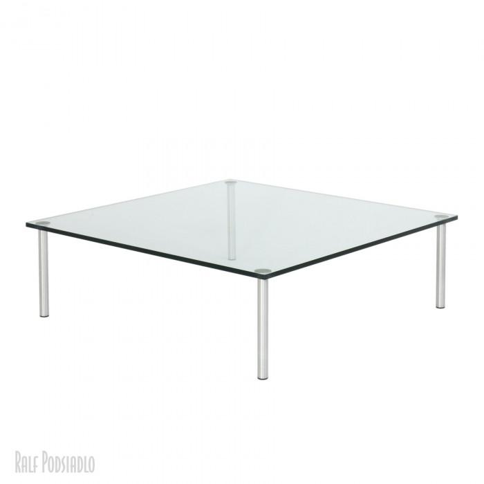 Couchtisch - Glastisch auf Maß - H32 100x100cm, Edelstahl Schliff