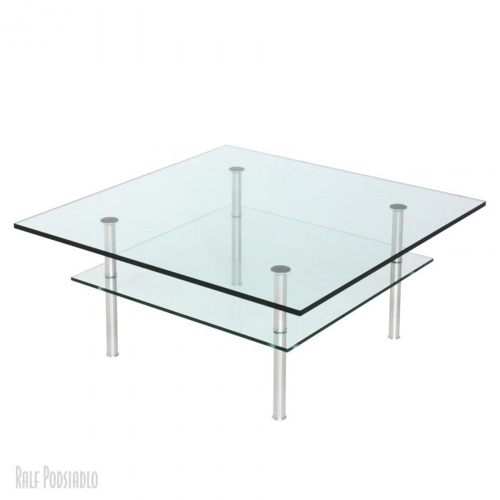 Glastisch nach Maß - DUO 90x90cm Edelstahl geschliffen und gebürstet