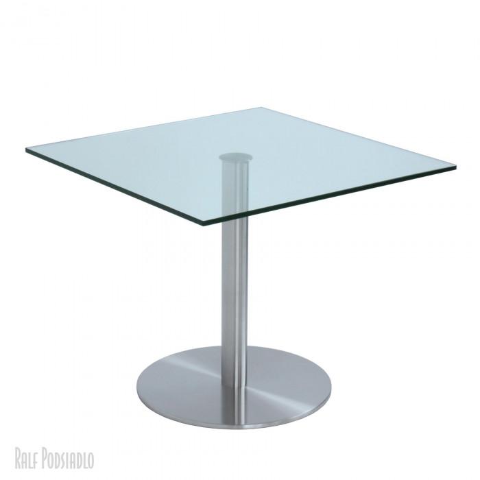 Säulentisch nach Maß CENTRO Fuß D60 Glasplatte 90x90cm