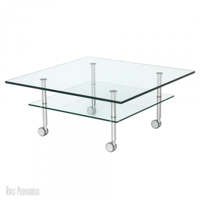 Glastisch auf Maß Glastisch DUO H41x90x90cm unten 70x70cm - Doppelplatte