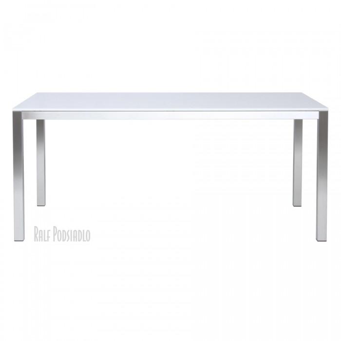 Tisch FRAME-50 - Glasplatte-Oberfläche satiniert, unten lackiert (weiß) Edelstahl