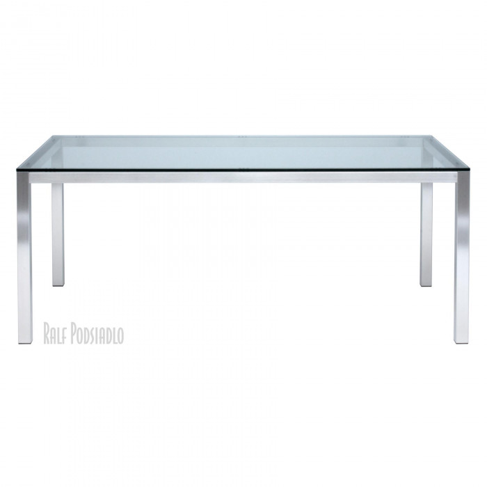 Tisch FRAME-50 - Glasplatte - Float klar (klassisch), Edelstahl-Gestell nach Maß